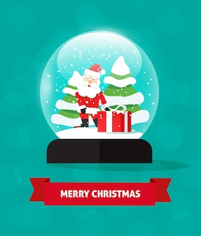 고립 된 산타 클로스 일러스트와 함께 메리 크리스마스 스노우 글로브