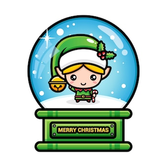Merry christmas snow with elves