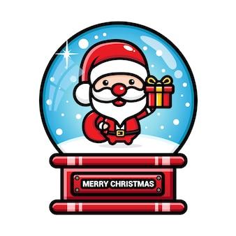 산타 클로스와 함께 메리 크리스마스 눈