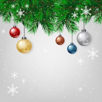 메리 크리스마스, 눈송이, 장식 공 및 전구 장식 크리스마스 트리