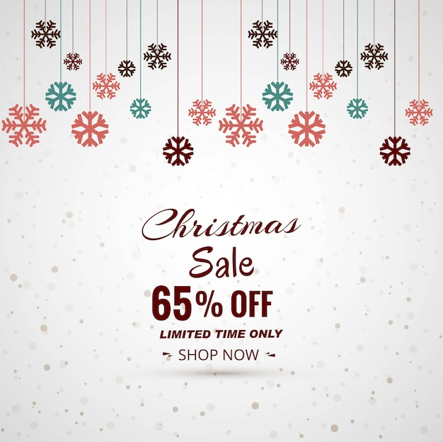 Merry christmas snowflake festival sale background