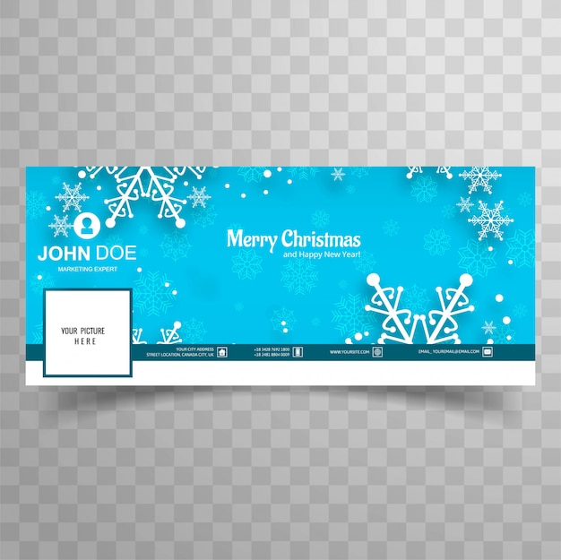 Merry christmas snowflake with facebook banner template background