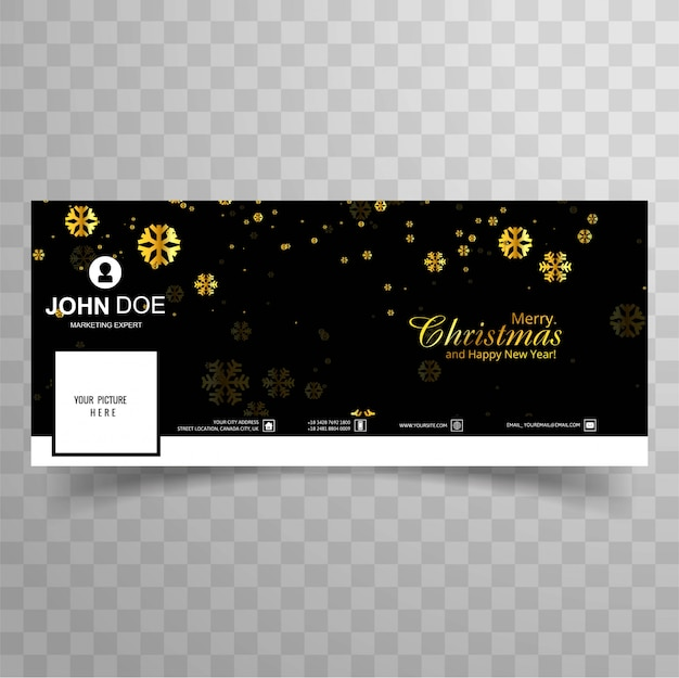 Merry christmas snowflake with facebook banner template design