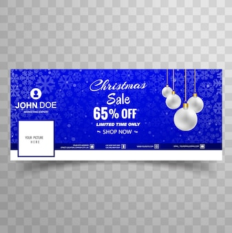 Merry christmas snowflake with facebook sale banner template design