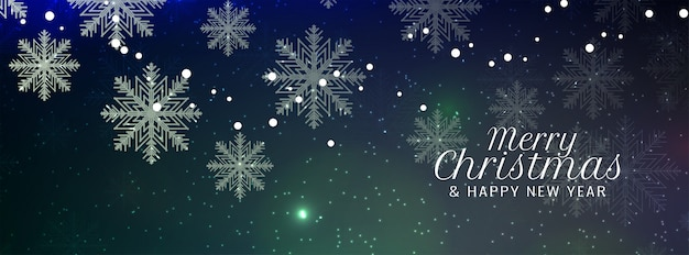 Merry christmas snowflakes banner