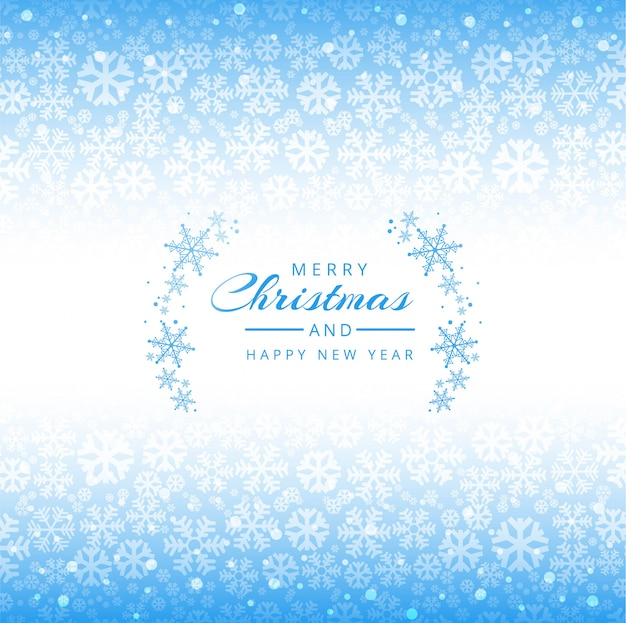 Merry christmas snowflakes blue background