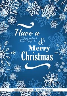 С рождеством снежинки синий открытка