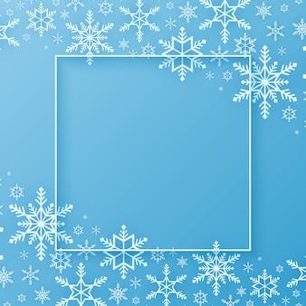 メリークリスマス雪片パターン背景降雪バナーフレームコピースペース