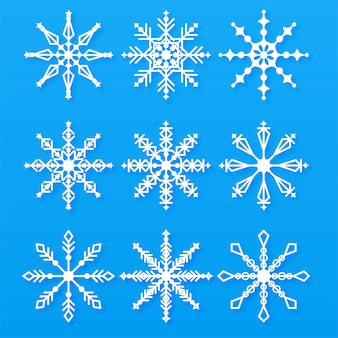 Merry christmas snowflakes set elements