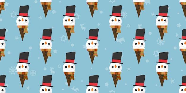 Merry christmas, snowman ice creams seamless pattern.