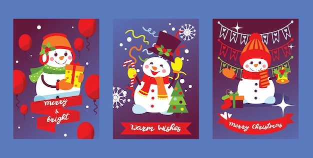 Merry christmas snowman new year greeting card with santa snow-man character xmas tree and gifts background illustration set of postcard winter holiday celebration poster design backdrop