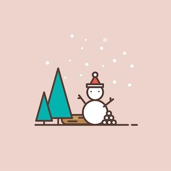 Merry christmas snowman and pine tree minimal illustration