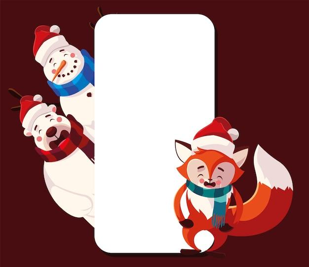 Merry christmas snowman polar bear and fox with scarf empty banner illustration