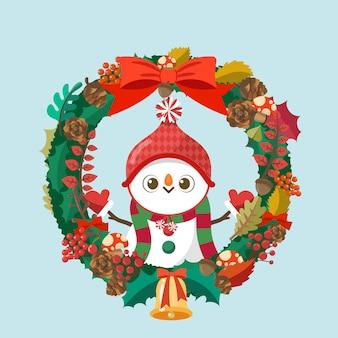 Merry christmas, snowman santa claus in christmas wreath.