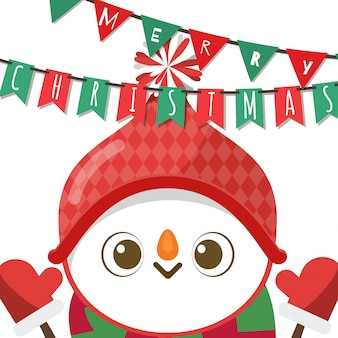 Merry christmas, snowman in santa claus costume.