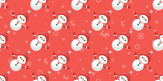 Merry christmas, snowman seamless pattern.
