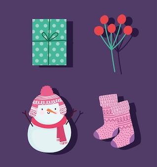 Счастливого рождества, снеговик, чулок ягод и подарочные значки, украшение праздничной карты для поздравительной иллюстрации