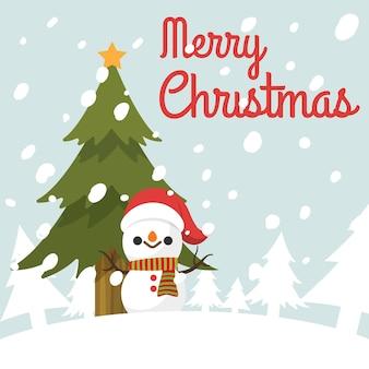 크리스마스 트리 아래 메리 크리스마스 눈사람입니다.