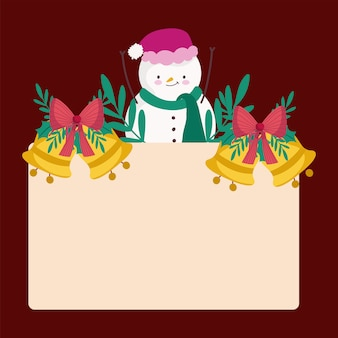 金色の鐘と空のプラカードフレームとメリークリスマス雪だるま