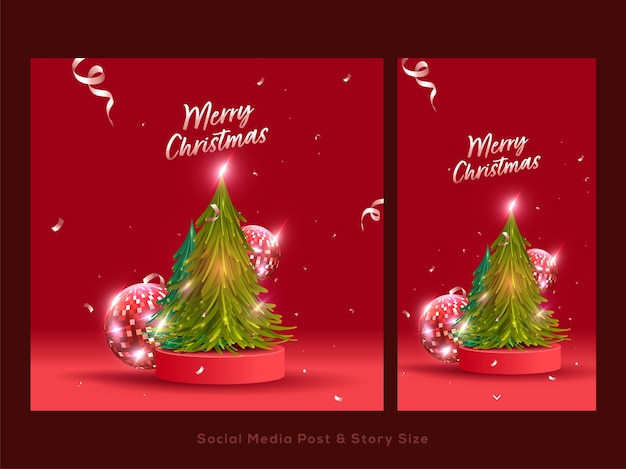 Merry christmas social media post set with xmas tree, disco balls and confetti ribbons on red background.