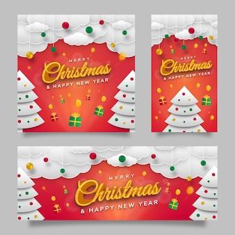 С рождеством христовым флаер шаблона социальных сетей с красным градиентным фоном