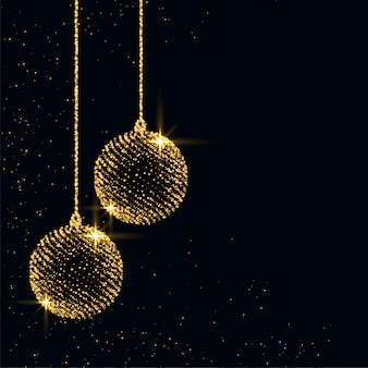 Merry christmas sparkles xmas ball background design