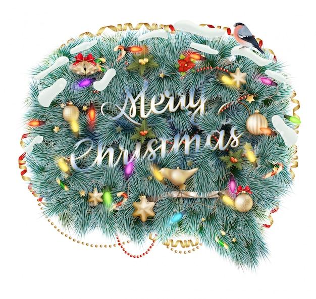 メリークリスマスの吹き出し、白い背景で隔離されました。