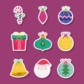 Merry christmas, sticker of santa gifts balls bell and candy cane decoration season icons