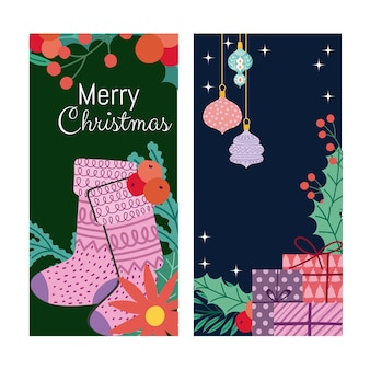 Merry christmas stocking flower balls and gifts banner