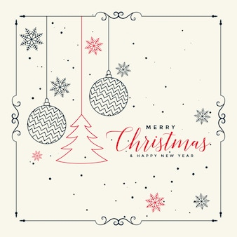 Merry christmas stylish line art background