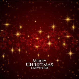 Merry christmas stylish modern red background with stars