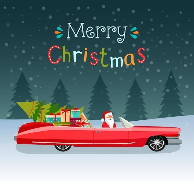 С рождеством христовым стилизованная типография. винтажный красный кабриолет с санта-клаусом, рождественской елкой и подарочными коробками. векторная иллюстрация плоский стиль