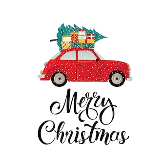 Merry christmas stylized typography vintage red car