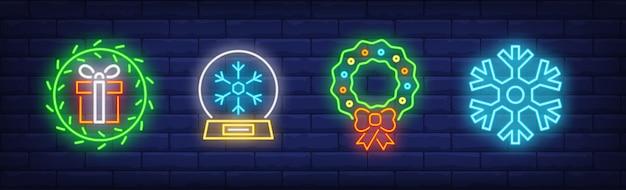 Merry christmas symbols set in neon style
