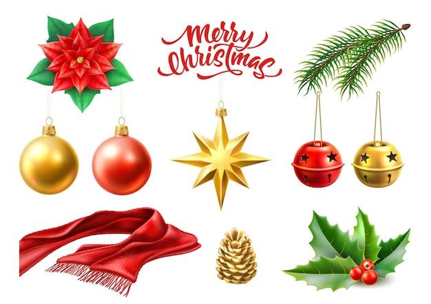 Веселые рождественские символы игрушечные шары звезда звенящие колокольчики еловая ветка холли листья пуансеттия