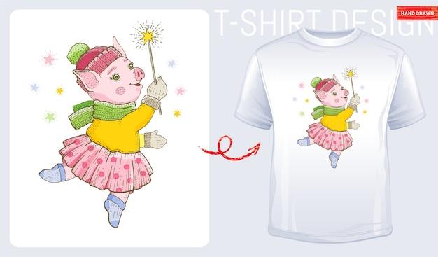 冬の踊る豚とメリークリスマスのtシャツプリント。赤ちゃん、子供、女性のファッションのためのかわいいデザイン。