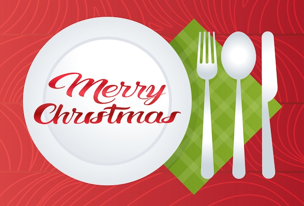 Merry christmas table setting with plate spoon fork knife holiday decoration  flat