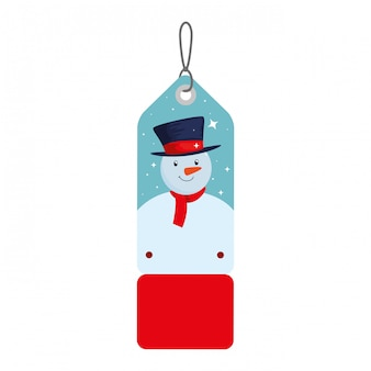 Веселый рождественский ярлык, висящий с снеговиком