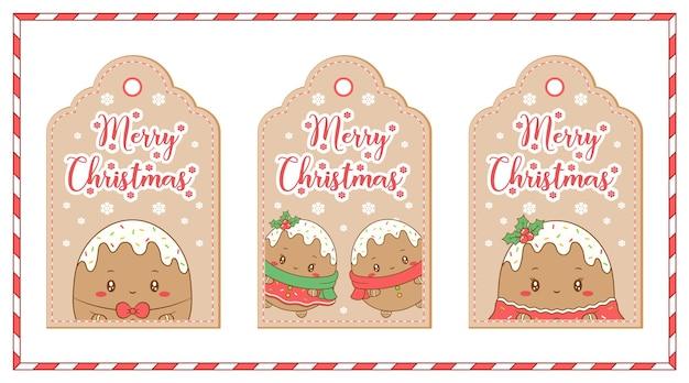 Веселые рождественские теги милый рисунок имбирного печенья для зимних праздников