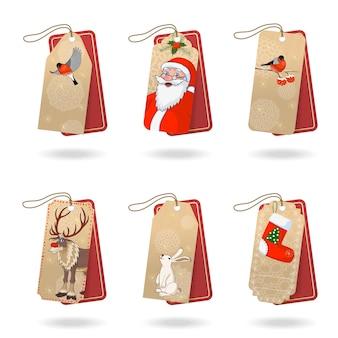 С рождеством христовым теги для подарочной векторной коллекции в стиле ретро. поздравительная открытка из красной оберточной бумаги с изображением санта-клауса, милого оленя, птиц и кролика. складская иллюстрация