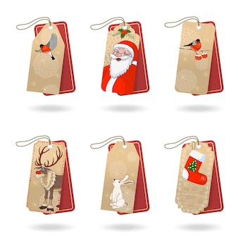 Merry christmas tags for gift vector collection in retro style. red wrapping craft paper greeting card printable design with santa, cute reindeer, birds and rabbit. stock illustration