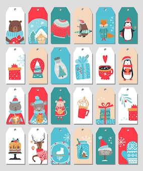 Merry christmas tags set. vector iilustration. festive winter label collection