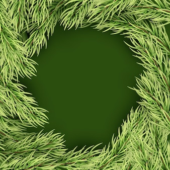 Merry christmas template frame of fir branches.