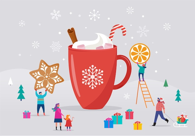 Шаблон с рождеством христовым, зимняя сцена с большой кружкой какао и маленькими людьми, молодые мужчины и женщины, семьи, развлекающиеся на снегу, катание на лыжах, сноуборде, санках, коньках