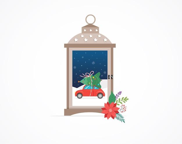 Шаблон с рождеством, зимняя страна чудес в снежном шаре
