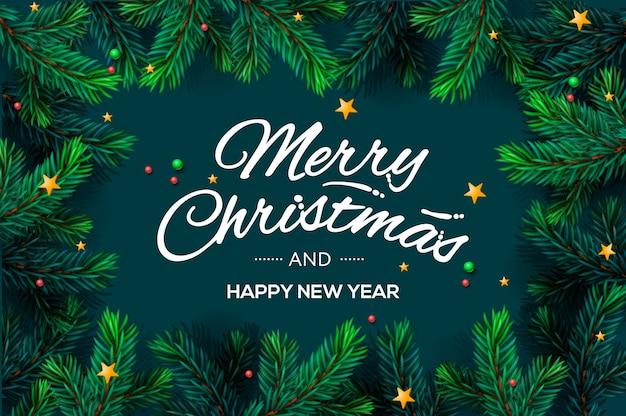 クリスマスツリーの枝フレームとメリークリスマステンプレート