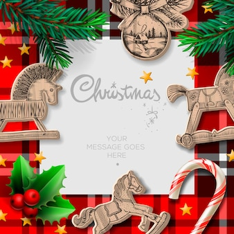 Merry christmas template with rocking toys and christmas decoration Premium Vector