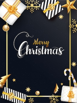 Merry christmas template with top view of gift boxes, baubles, stars, snowflake, candy cane and origami paper xmas tree on black background.