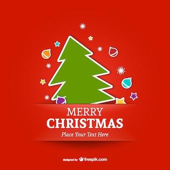 ツリーとメリークリスマステンプレート