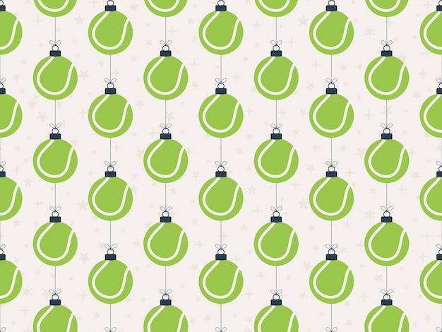 Merry christmas tennis seamless horizontal pattern.